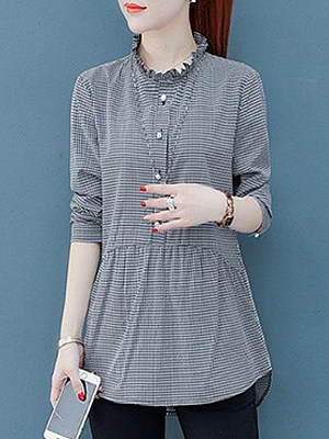 Round Collar Patchwork Casual Plaid Long Sleeve Blouse, 10129313