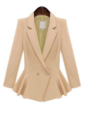 Women's Elegant Ruffled Waist Solid Color Blazer gender:female, season:autumn,spring, sleeve_length:long sleeve, style:japan and south korea, collar_type:suit lapel collar, dress_occasion:daily, bust:80,clothing length:69,shoulder width:39,sleeve length:59,