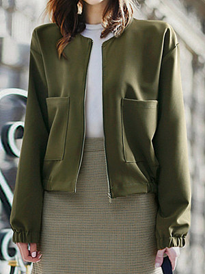 Women's Loose Pocket Zip Long Sleeve Coat gender:female, season:autumn,spring, collar:crew neck, texture:polyester, sleeve_length:long sleeve, style:japanese and korean style, dress_occasion:daily, bust:124,clothing length:57,shoulder width:49,