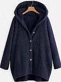Image of Women's plush large lapel bat sleeve cardigan jacket