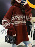 Image of High Collar Snowflake Long Sleeve Knit Pullover