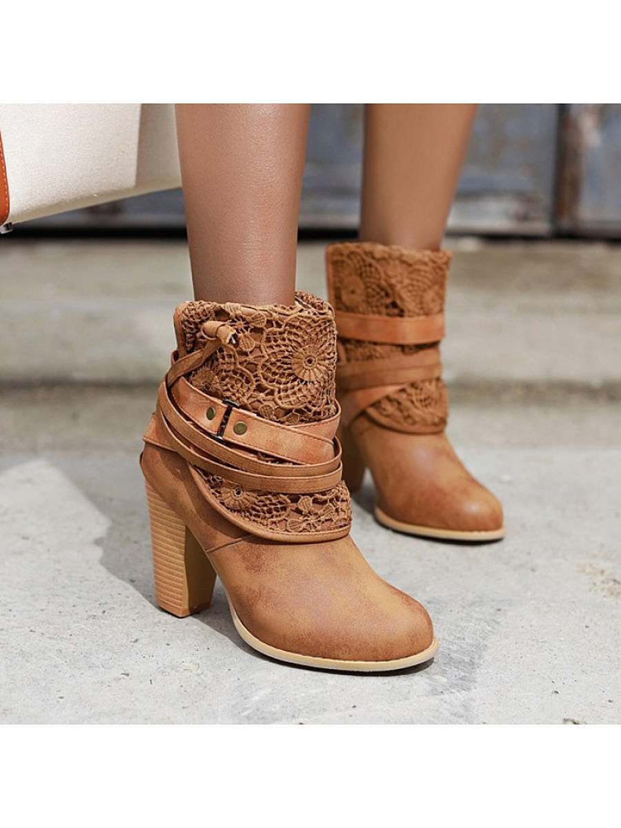 Flower shape hollow belt buckle thick heel women's Boots - from $32.95