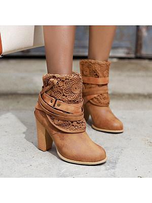 Flower shape hollow belt buckle thick heel women's Boots, 10242666