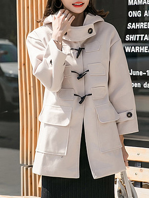 Women's fashion crocheted woolen coat gender:female, season:autumn,winter,spring, texture:polyester, sleeve_length:long sleeve, sleeve_type:regular sleeve, style:japan and south korea, collar_type:hat collar, design:horn buckle, dress_occasion:daily, bust:122,clothing length:83,shoulder width:59,