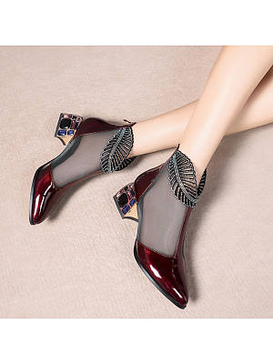 Berrylook coupon: Womens Patent Leather Mesh Rhinestone Ankle Boots