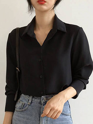 Turn Down Collar Plain Long Sleeve Blouse, 11499950