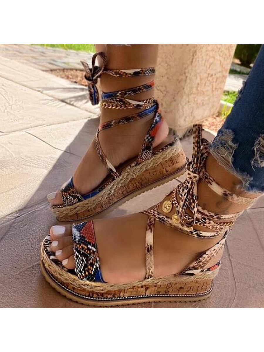 BerryLook Women's  Platform sandals with snake straps
