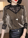 Image of Gold Mesh Lace T-Shirt