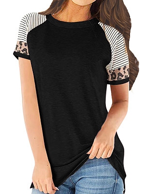 Round Neck Patchwork Casual Striped Shor Sleeve T-Shirt, 10576756