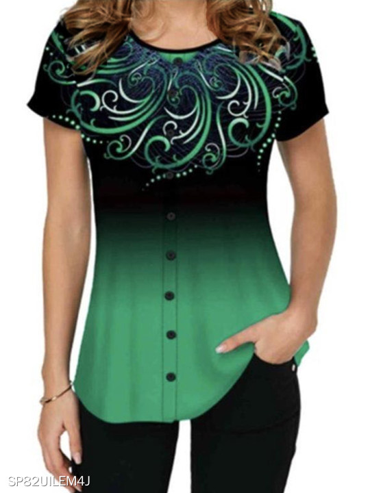 Printed Short Sleeve Casual T-shirt For Women