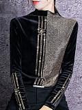 Image of Semi-High Neck Bright Silk Bottoming Shirt