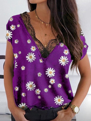 V Neck Lace Patchwork Short Sleeve T-shirt фото