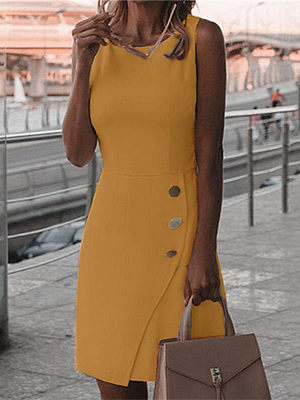 Round neck sleeveless solid color temperament dress, 27558951, BERRYLOOK  - buy with discount