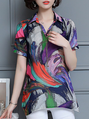 Turn Down Collar Printed Short Sleeve Blouse, 11559721
