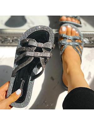Rhinestone Summer Bow Flat Sandals, 11321389