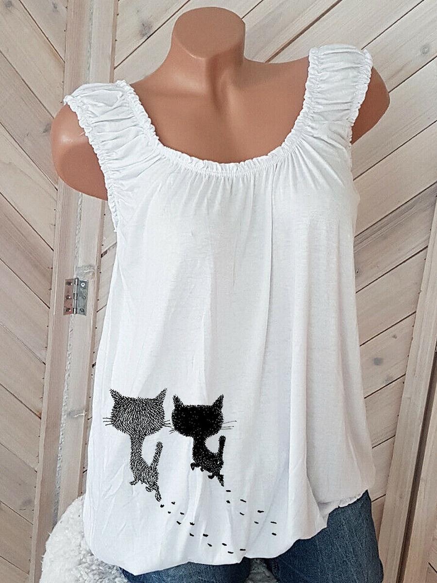 BerryLook Cat Print Sleeveless T-shirt