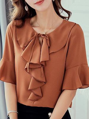 Tie Collar Flounce Plain Bell Sleeve Short Sleeve Blouse, 11164607