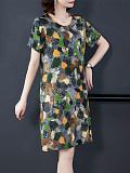 Short Sleeve Loose Round Neck Dress