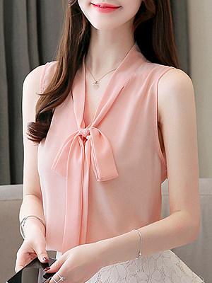 Tie Collar Plain Sleeveless Blouse, 11578000