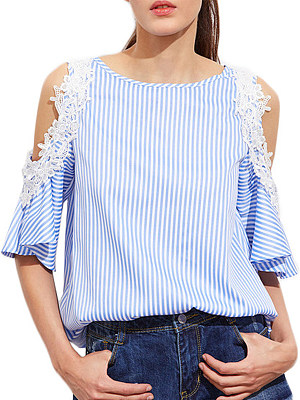 Round Neck Patchwork Lace Striped Short Sleeve Blouse, 11384026