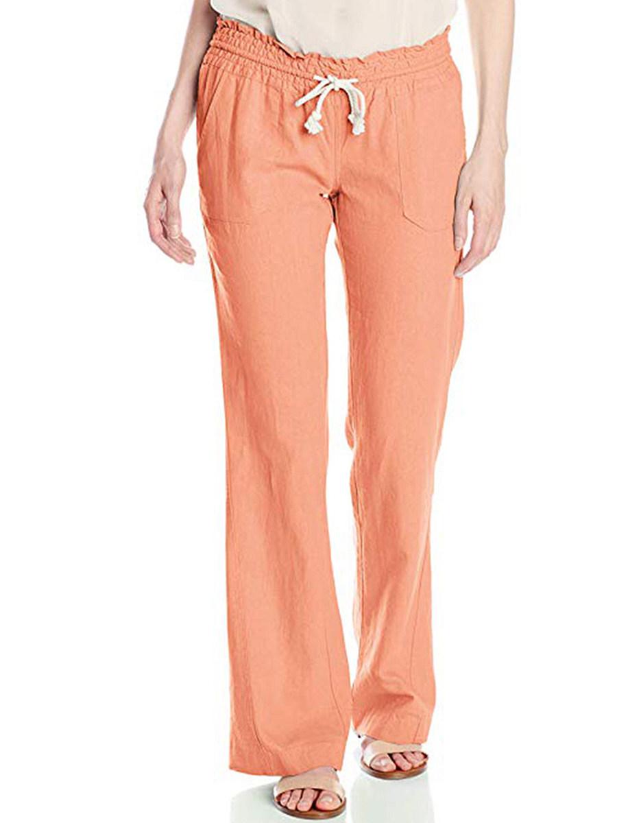 Casual fashion high waist lace-up slacks