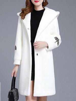 Fashion Hooded Solid Color Faux Mink Fleece Coat, 10714569