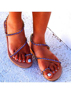 Handmade beaded flat sandals, 11265293