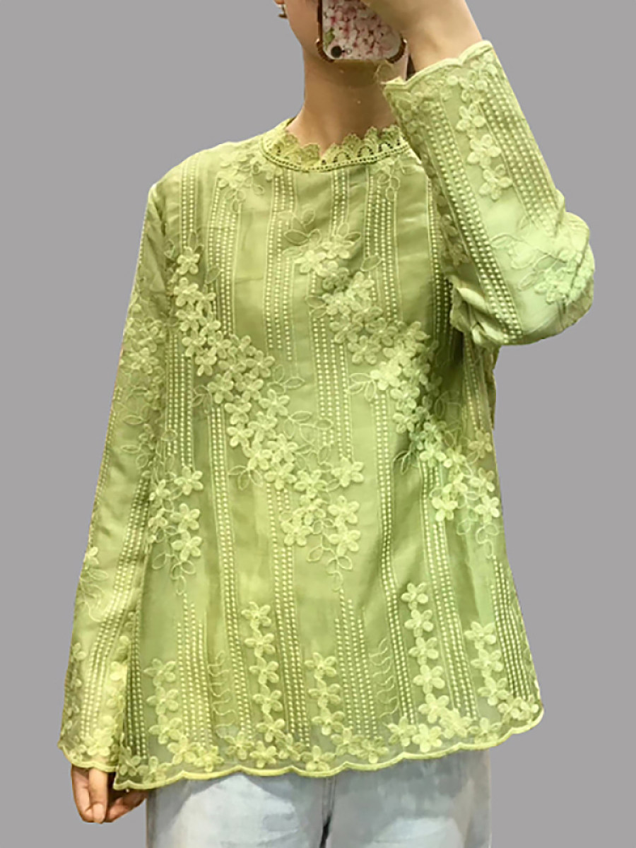 Band Collar Embroidered Long Sleeve Blouse - from $23.95