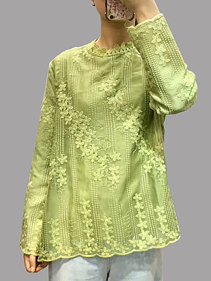 Band Collar Embroidered Long Sleeve Blouse, 10682346