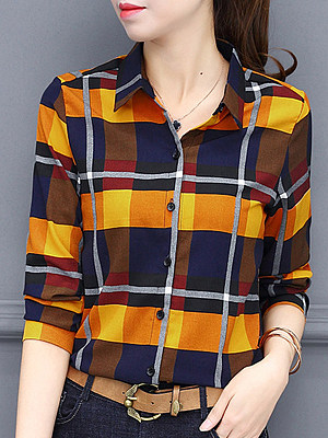 Turn Down Collar Plaid Long Sleeve Single-breasted Blouse, 10325854