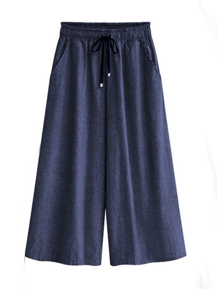 BerryLook Loose straight thin thin denim wide-leg cropped pants
