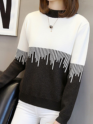 Round Neck Patchwork Long Sleeve Knit Pullover, 10527500