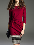 Commuting Round Neck Pure Color Long Sleeve Dress