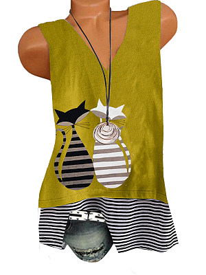 V Neck Patchwork Printed SLeeveless T-shirt фото