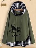 Daily ladies cartoon printed hooded long sleeve sweatshirt