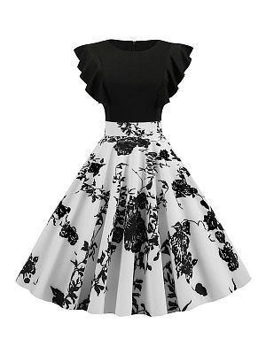 Berrylook coupon: Polka Dot Printed Flying Sleeve Retro Big Sleeve Dress