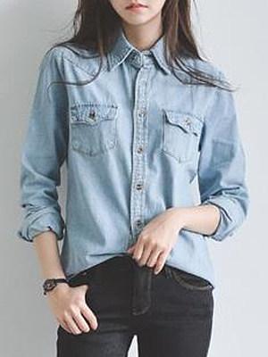 Turn Down Collar Plain Long Sleeve Blouse, 11536275
