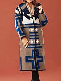 Image of Mid-Length Printed Hooded Jacket