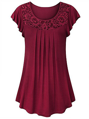 Round Neck Patchwork Lace Short Sleeve T-shirt, 11584728