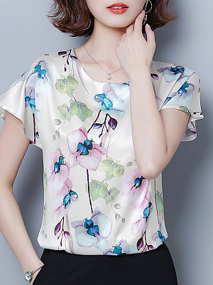 Round Neck Floral Printed Short Sleeve T-Shirt, 11302564
