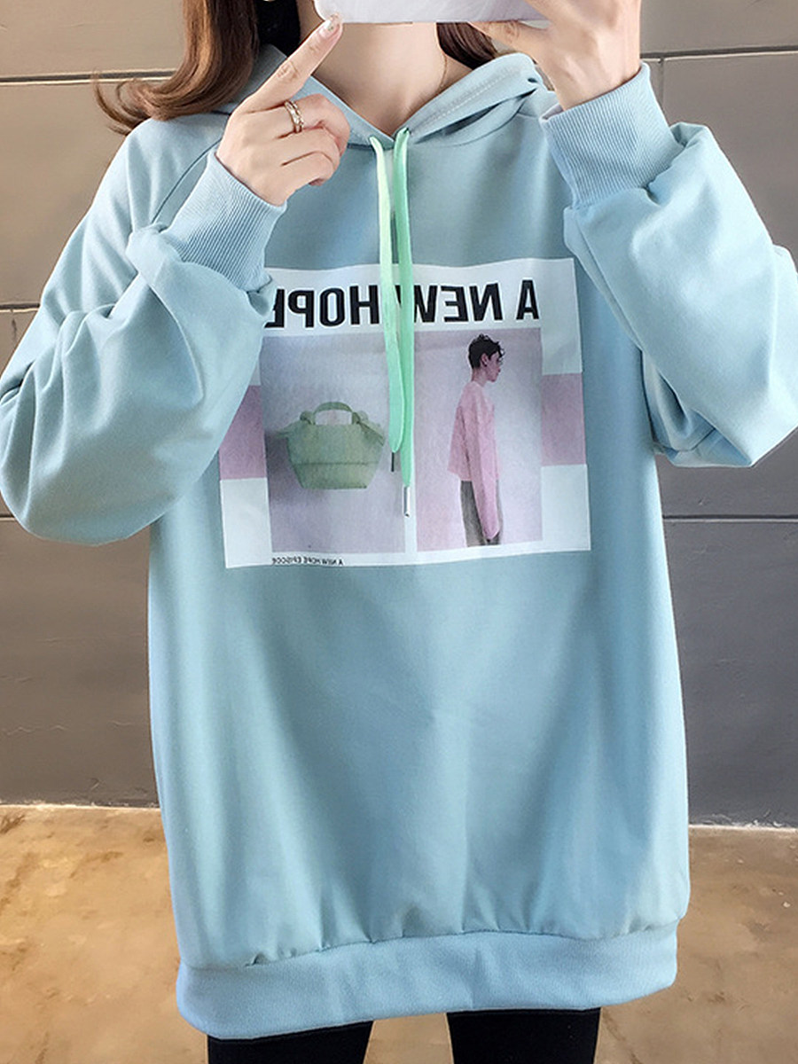 Fashion Print Hooded Sweatshirt