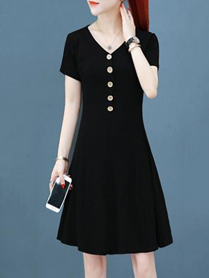 V-Neck Plain Shift Dress, 11434996