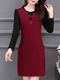 Image of Long Sleeve Waist Solid Color Round Neck Dress