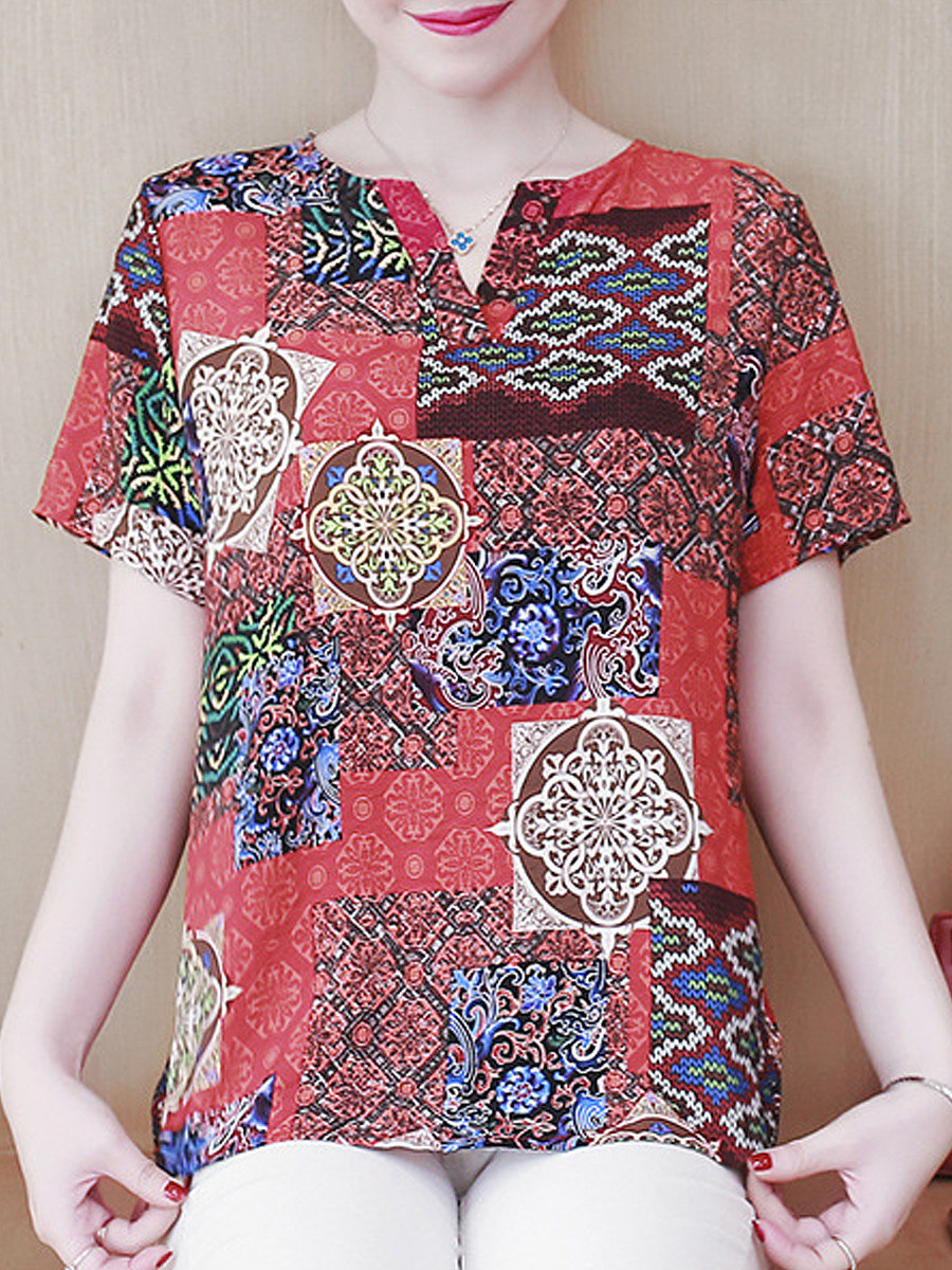 V Neck Print Short Sleeve Linen Blouse