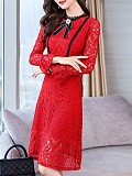 Image of Round Neck Long Sleeve Lace Bodycon Dress