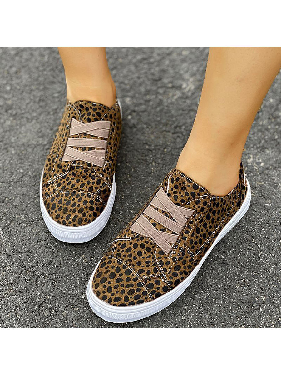 Flat casual leopard canvas womens shoes