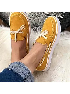 Casual Women Solid Color Lace-up Flat Sneakers, 10725969