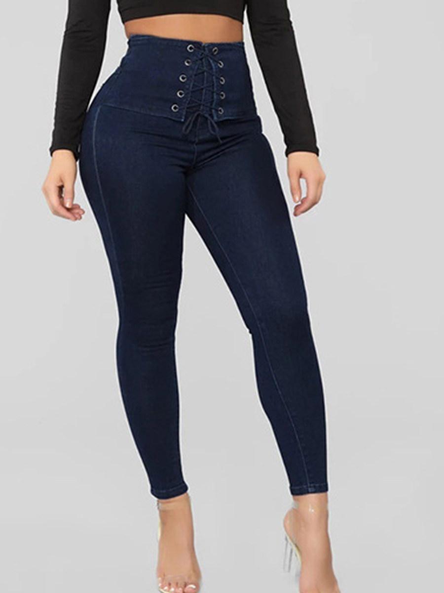 BerryLook Slim-fit stretch high-waist strap jeans
