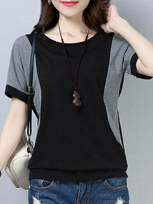 Round Neck Color Block Short Sleeve T-Shirt, 11273605