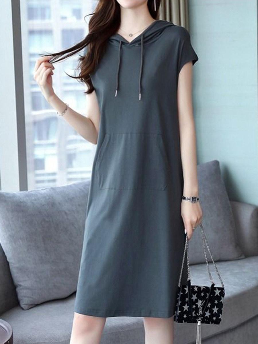 BerryLook Round Neck Patchwork Plain Shift Dress